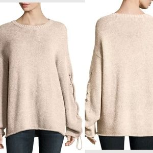 6e79754f See By Chloe Lace Up Sleeves Cable Knit Sweater